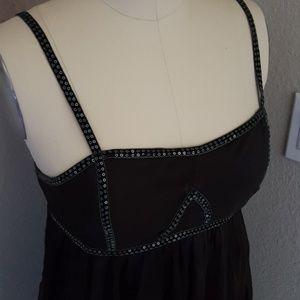 NWT Velvet Sequin Trim Black Mini Dress
